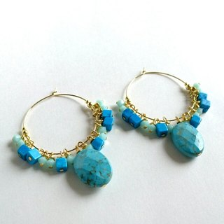 Turquoise and Swarovski hoop earrings