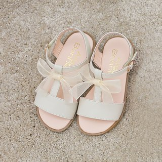 AliyBonnie shoes romantic bow T sandals - clear rice white