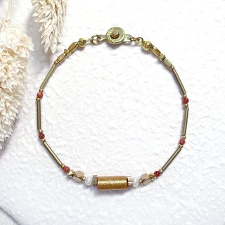 VIIART. Year of the year solar-equination. Pearl Gold Coral Brass Bracelet