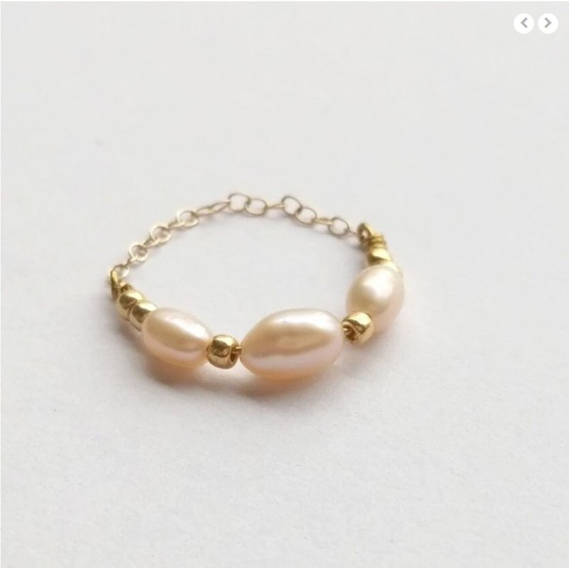 14KGF Rice Pearl Pearl Chain Ring