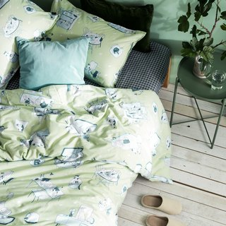 House 喵 single double bed / bed bag hand-painted cat 40 cotton bedding pillowcase quilt cover