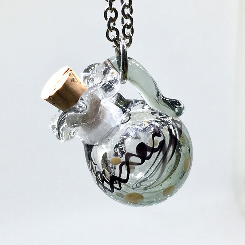 Grayscale Ink Glass Fragrance Bottle Necklace