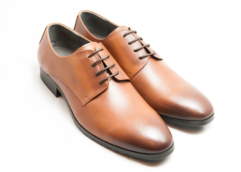 Hand-painted calfskin leather wood with plain derby shoes - caramel color - free shipping - E1A11-89