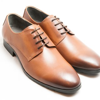 Hand-painted calfskin leather and plain Derby shoes - Caramel - Free Shipping - E1A11-89