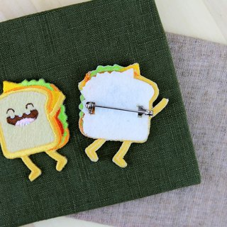 Cloth embroidered pin - happy fast food series happy sandwich