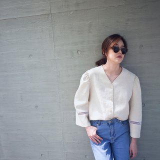 Delphi Retro Puffy Sleeves Linen Shirt
