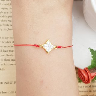 Sterling Silver Gold Plated Diamond Drill Clover Four Leaf Design Double Handle Bracelet Red Line Bracelet Drill