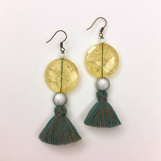Art Deco Style Pendant Green Tassel Earrings