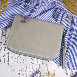 Gray brown. Classic leather short clip / wallet / wallet / coin purse