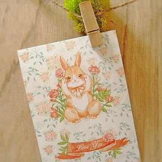 Flower Word Rabbit Loves You Rose / Single Side Postcard Postcard