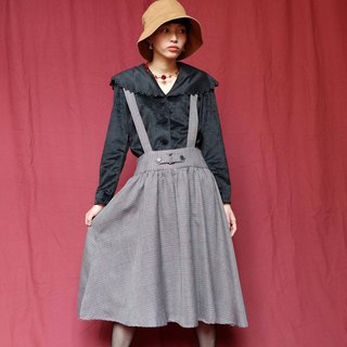 Pumpkin Vintage. Ancient gray plaid wool dress