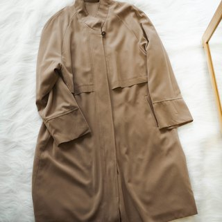 Tokyo khaki small stand collar wide and casual antique thin windbreaker jacket trench_coat dustcoat