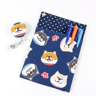 Physician robe pocket type leak proof ink storage bag pencil bag + certificate holder - circle Shiba Inu (blue)