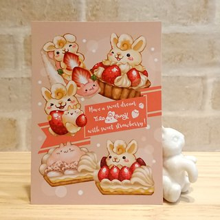 Postcard - Strawberry Rabbit 2 / Dessert