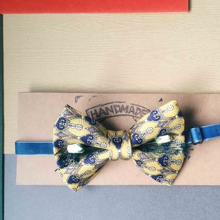 Antique Tie Remanufactured Handmade Bow Tie - Yesterday Yellow Flower - White Rose Edition