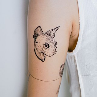 LAZY DUO Temporary Tattoo Sticker Sphynx Cat Egypt Cat Hairless Cat Fake Tattoos