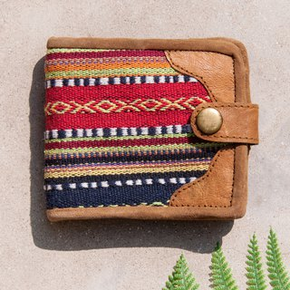 Woven stitching leather short clip short wallet purse woven short clip - ethnic wind Moroccan desert