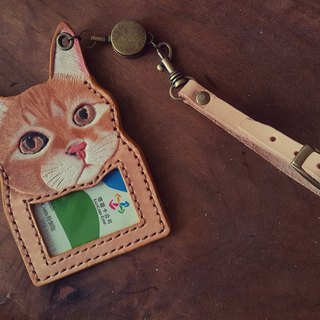 Custom cat original leather color pure leather telescopic identification card / leisure card holder (birthday, lover gift)