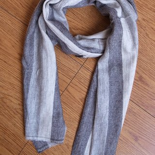 【Grooving the beats】Cashmere Stripes Shawl / Scarf / Stole Handmade Stripe Grey