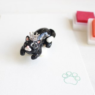Black cat hand engraved rubber single meat ball seal I hand made JX PearlCatCat joint limited