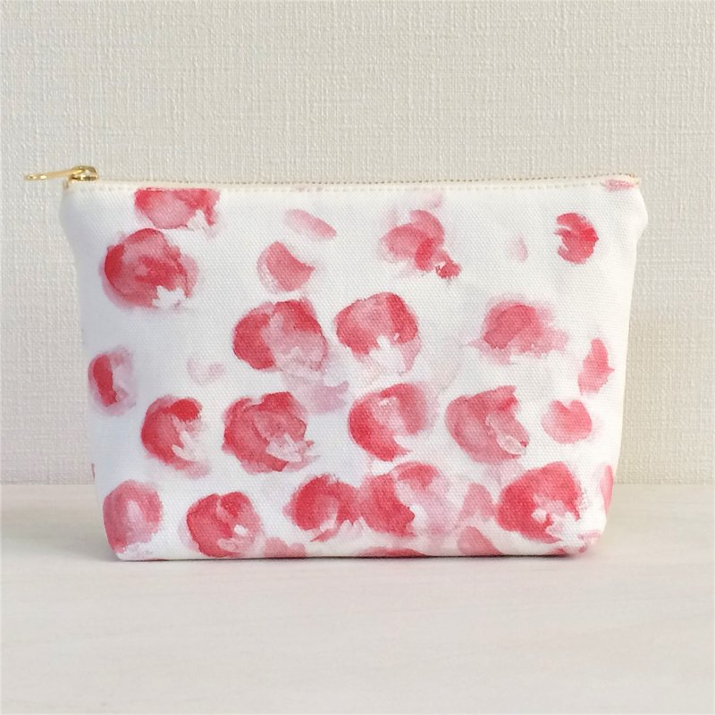 Bloom Flower Gusseted Pouch Floral Pattern Pink Red