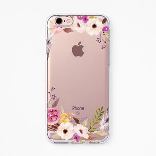 iPhone Rubber Case - Floral Ring - for iPhones - Clear Flexibl