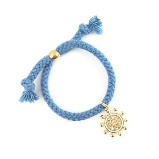 Gold rudder - light blue hand rope