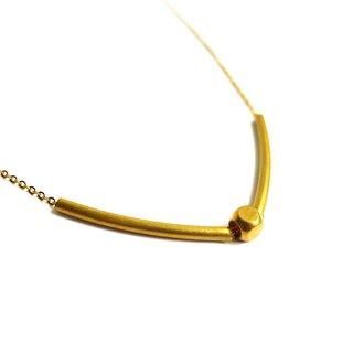 Ficelle | handmade brass natural stone necklace | [tube] brass 18K gold clavicle chain
