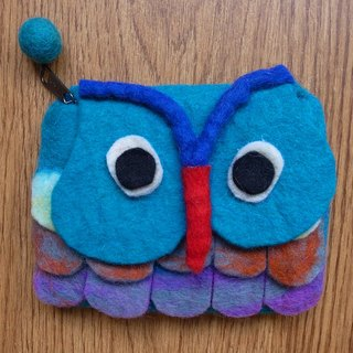 【Grooving the beats】Zippered coin purse pouch purse wool fabric(Owl_Blue)