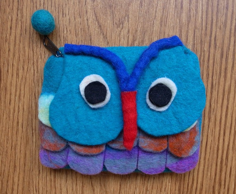 Zippered coin purse pouch purse wool fabric Owl Blue
