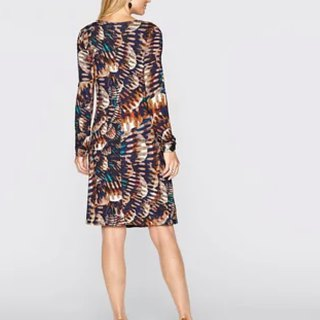 V-neck print mature dress / dress