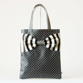 flat totebag Spin Off monochrome dots borders stripes ribbon PVC