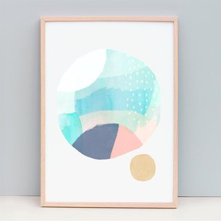Watercolour fine art print soft pastel colours round circle (Unframed)