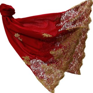 Angel Woolen Indian Pashmina handmade silk cashmere shawl Jennifer gorgeous enjoyable - red