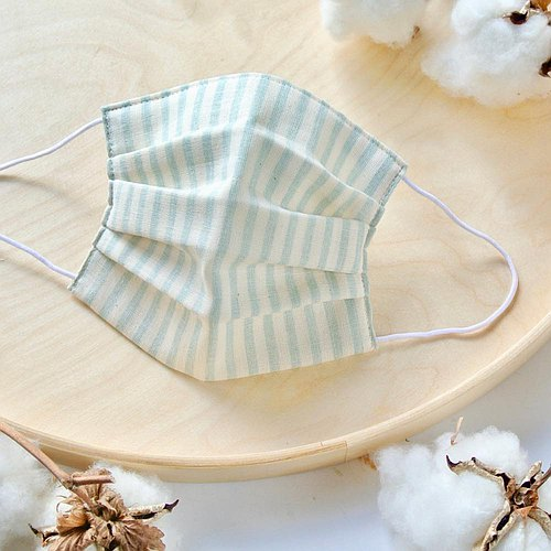Natural cotton handmade mask Stripe Lightblue | Reduce cloudiness of glasses