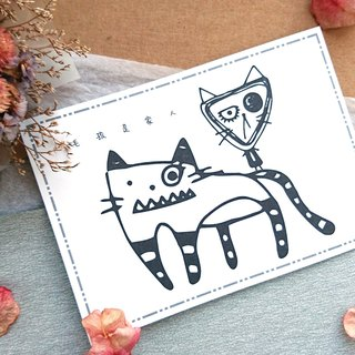 ◆ Cat monster postcard - black and white line engage 1 ◆