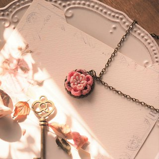 Pink Flower Long Chain Necklace custom