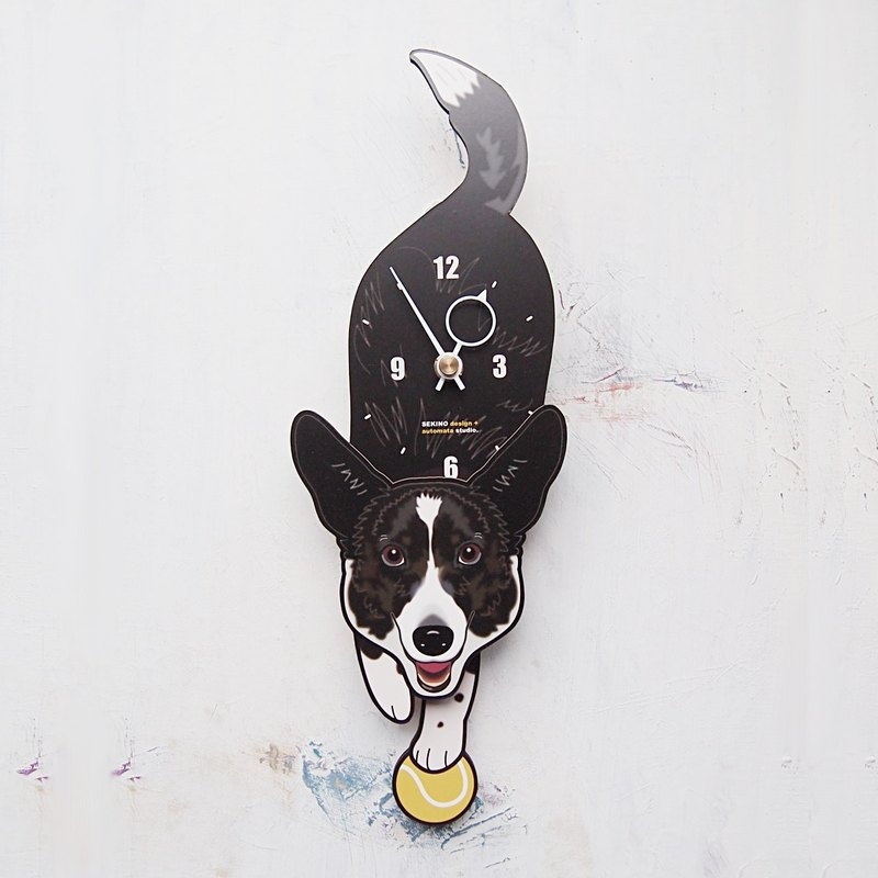 D-106 柯基犬(white&black) - 動物造型鐘擺鐘