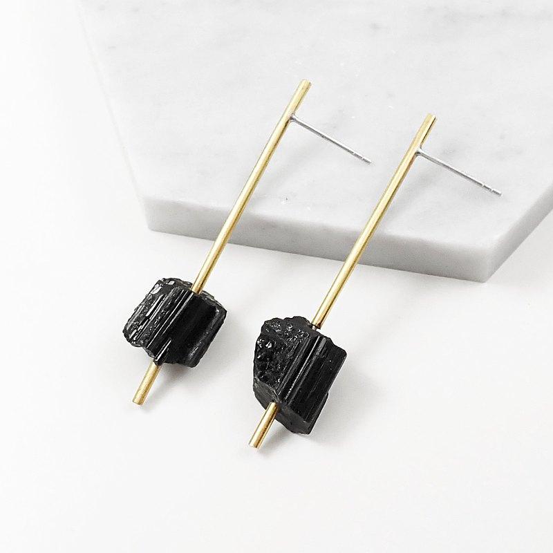 限量 - RAW | 天然黑碧璽原礦黃銅直條925純銀耳針耳環.黑系