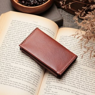 Retro coffee red hand dyed yak leather handmade business card holder
