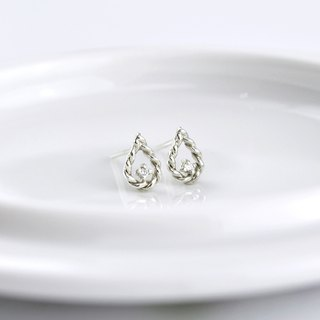 Sterling Silver Twisted Water Drop Frame Earrings with CZ diamond