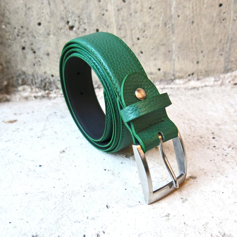 3.5cm Wide Stainless Steel Head Stitched Leather Belt Green Litchi Pattern Italian Leather [LBT Pro]