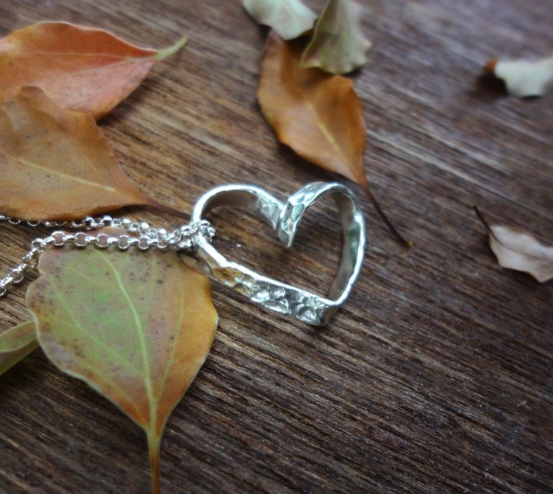 Knocking on love, hand-forging, sterling silver, silver pendant - love (without chain)