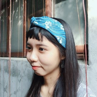 Hand made cross hair band / Ukiyo-e surf