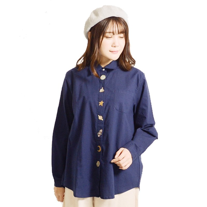 Space pattern embroidered long-sleeved shirt blouse