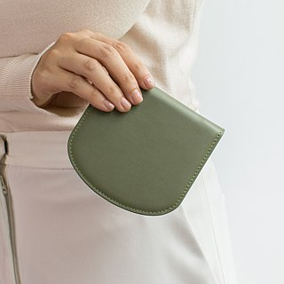 """Arch"" slim leather wallet in Dark green"
