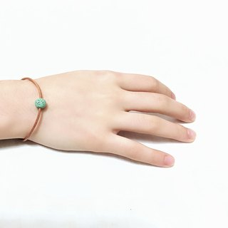 Aqua Green Lava Bead Diffuser Thin Brown Leather Bracelet with Extend Chain