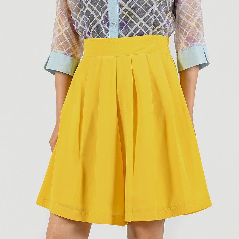 【蛋植物古著】檸檬日光純色高腰古著短褲