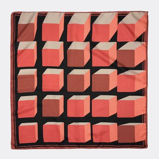 Black orange square retro antique silk scarf BL0009