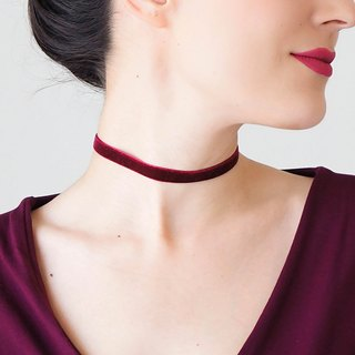 BURGUNDY Choker Silver Choker Girlfriend Gift Gold Ribbon Choker Necklace Gold Necklace Silver Necklace / PONSA